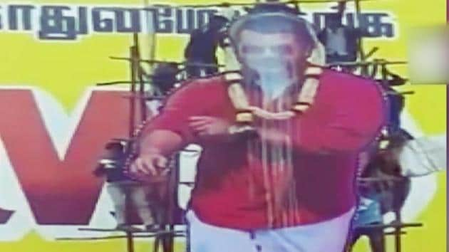 Five people were injured in Thirukovilur, Tamil Nadu after a cut-out of actor Ajith collapsed during 'paal abhishekam' (pouring of milk on the cut-out).Fans revere the actors and garland their cutouts during the release of their films. Ajith's new film Viswasam will hit theatres on 14 January.
