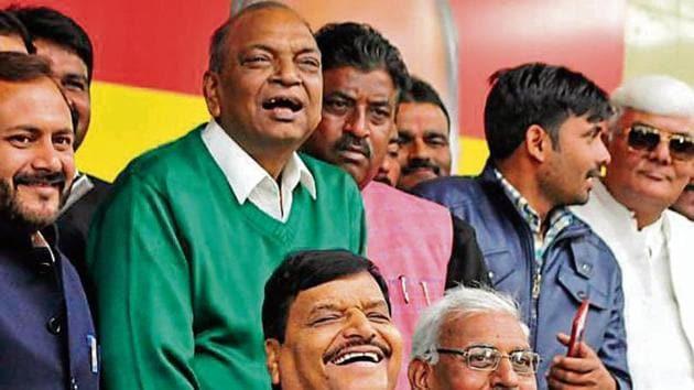 Pragatisheel Samajwadi Party (Lohia) president Shivpal Yadav during a press meet in Lucknow on Wednesday(Deepak Gupta/HT)