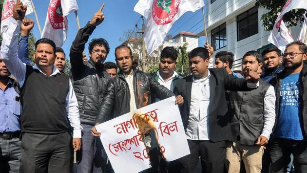 Assam police have slapped charges of sedition against three people who spoke at a public meeting held in Guwahati on January 7 opposing the citizenship bill.(PTI)