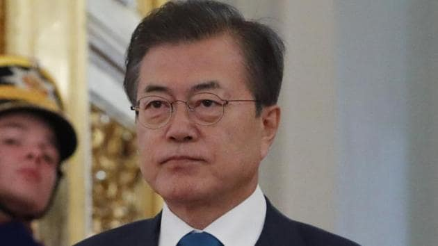 """North Korea needs to take """"more bold, practical measures for denuclearisation"""" to ensure sanctions are lifted, the South's president Moon Jae-in said Thursday. / AFP PHOTO / POOL / SERGEI KARPUKHIN(AFP)"""