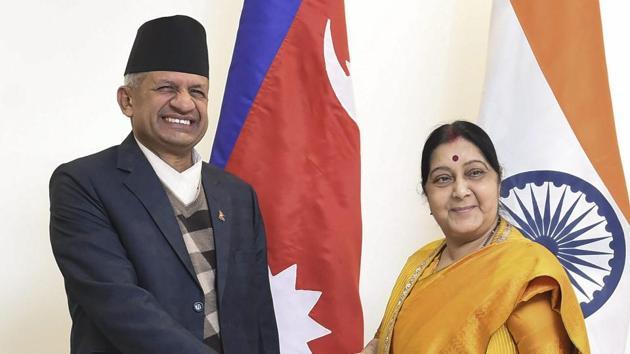 External affairs minister Sushma Swaraj greets her Nepali counterpart Pradeep Kumar Gyawali, in New Delhi on January 10.(PTI Photo)