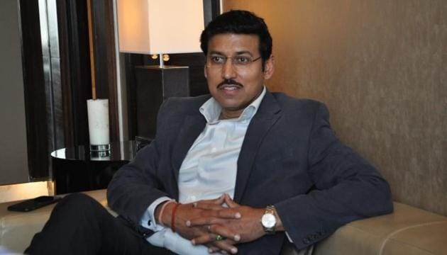 Col Rajyavardhan Singh Rathore (retd), Union minister of state (independent charge) for information and broadcasting(HT Photo)