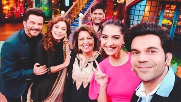 Ek Ladki Ko Dekha Toh Aisa Laga team on the sets of The Kapil Sharma Show.(Instagram)