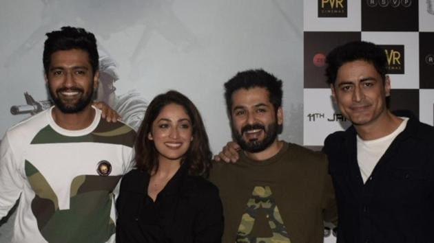 Vicky Kaushal, Yami Gautam, director Aditya Dhar and actor Mohit Raina during the screening of Uri in Mumbai. (IANS)(IANS)
