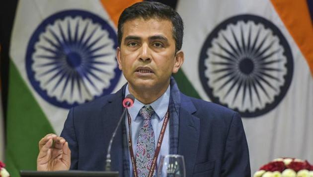 External affairs ministry Spokesperson Raveesh Kumar addresses a press conference, in New Delhi on Jan, 11.(AP Photo)