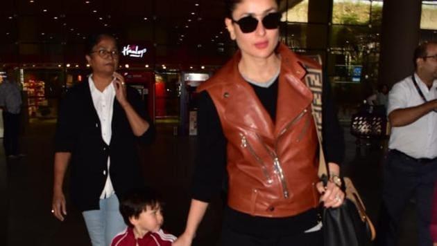 Kareena Kapoor at Mumbai airport with son, Taimur Ali Khan.(Viral Bhayani)