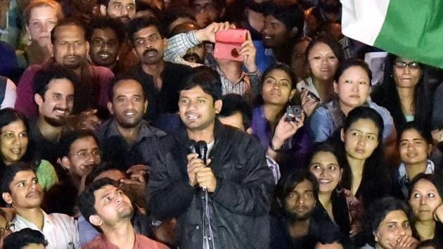 Former Jawaharlal Nehru University Students' Union (JNUSU) president Kanhaiya Kumar raising slogans after reaching JNU campus upon his release on bail, in New Delhi on March 3, 2016.(PTI File Photo)