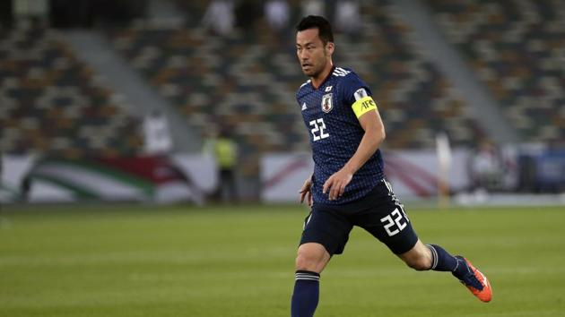 Japan's defender Maya Yoshida controls the ball during the AFC Asian Cup group F soccer match between Japan and Oman at Zayed Sports City Stadium in Abu Dhabi, United Arab Emirates, Sunday, Jan. 13, 2019(AP)