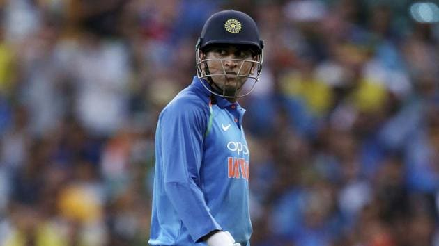 India's M.S. Dhoni walks off after losing his wicket to Australia's Jason Behrendorff during their one day international cricket match in Sydney, Saturday, Jan. 12, 2019(AP)