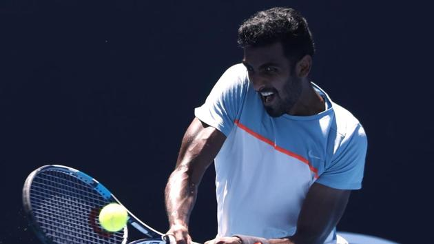 India's Prajnesh Gunneswaran in action during the match against Frances Tiafoe of the U.S.(REUTERS)