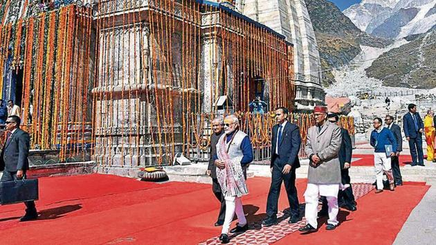 Prime Minister Narendra Modi visited Kedarnath in November 2018 to review reconstruction work.(PTI FILE PHOTO)