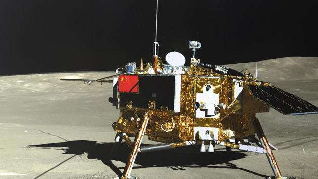 The lunar lander of the Chang'e-4 probe is seen in a photo taken by the rover Yutu-2 on Jan. 11, 2019.(AP Photo)