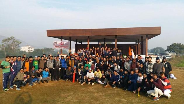 Members of the Kashmiri Pandit community gather on January 19, every year and take part in a cricket tournament to honour the Exodus day.(HT PHOTO)