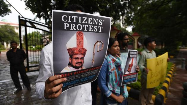 People hold a protest against former bishop Franco Mullakkal for his arrest outside the Kerala House, in New Delhi, India, on September 21, 2018.(Biplov Bhuyan/HT Photo)