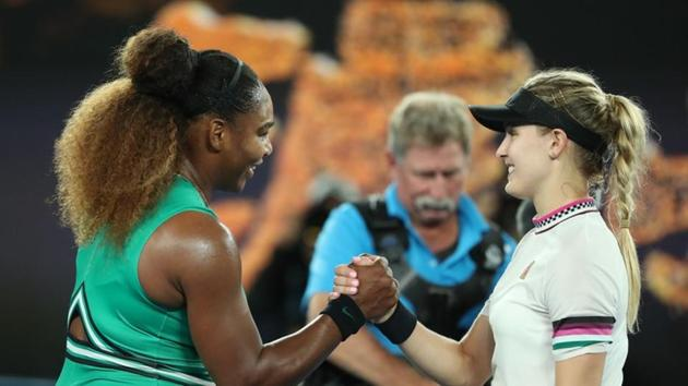 Tennis - Australian Open - Second Round - Melbourne Park, Melbourne, Australia, January 17, 2019. Serena Williams of the U.S. and Canada's Eugenie Bouchard shake hands after the match.(REUTERS)