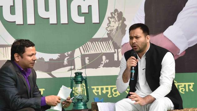 Rashtriya Janata Dal (RJD) leader Tejashwi Yadav during his Twiter Chaupal programe in Patna Bihar India on Thursday(HT)