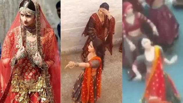 Alia Bhatt's look as a bride has been leaked from Kalank sets.