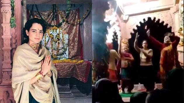 Kangana Ranaut performing at a temple in Mandi ahead.