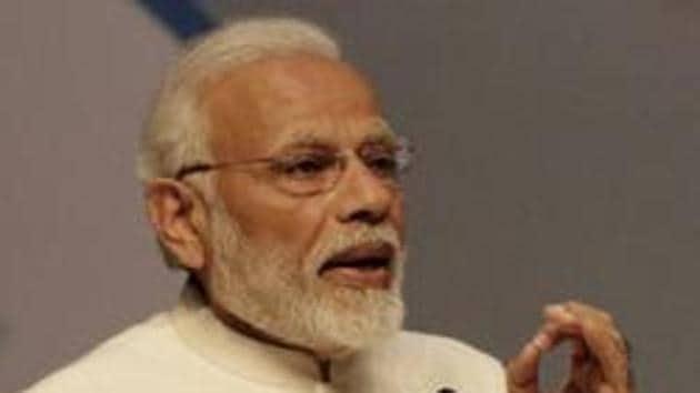 Gandhinagar, India - January 18, 2019: Prime Minister Narendra Modi speaks during the inaugural session at Vibrant Gujarat Global Summit, at Mahatma Mandir Exhibition cum Convention Centre, in Gandhinagar, Gujarat, India, on Friday, January 18, 2019. (Photo by Siddharaj Solanki / Hindustan Times)(HT Photo)