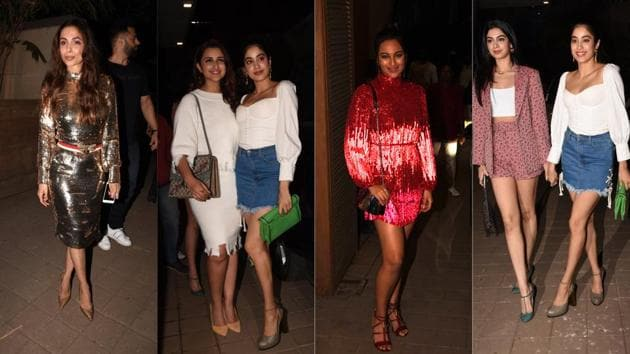 Malaika Arora, Parineeti Chopra, Janhvi Kapoor, Sonakshi Sinha and Khushi Kapoor at Punit Malhotra's birthday bash.(Viral Bhayani)