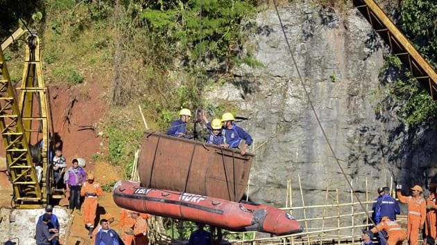 The Indian Navy abandoned all efforts on Sunday to pull out the decomposed body of a miner that it spotted four days ago .(REUTERS File)