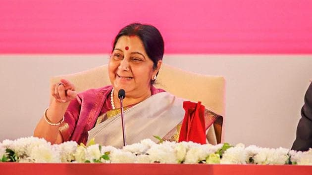 Varanasi: External Affairs Minister Sushma Swaraj, Uttar Pradesh Chief Minister Yogi Adityanath and others during the inauguration ceremony of 15th edition of the Pravasi Bhartiya Divas (PBD) at Deen Dayal Trade Facilitation Centre, in Varanasi, Monday, Jan. 21, 2019. (MEA Photo via PTI).(PTI)