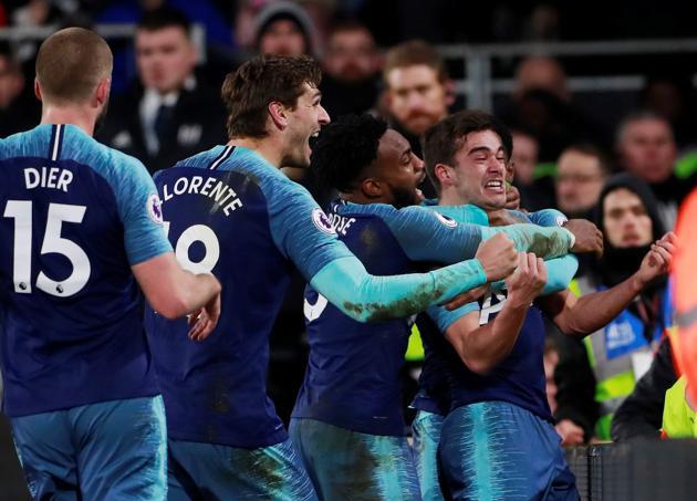 Tottenham Hotspur celebrate their winning goal against Fulham.(Action Images via Reuters)