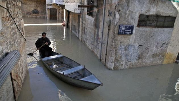 <p>The alleyways of the Syrian town of Darkush in Syria are normally thronged with pedestrians but since the swollen Orontes River burst its banks, Abu...