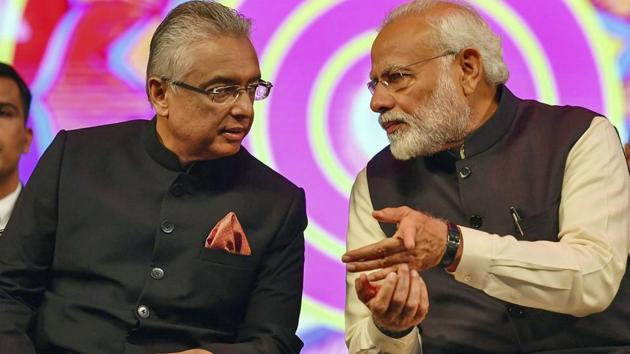 Prime Minister Narendra Modi and chief guest Prime Minister of Mauritius Pravind Kumar Jugnauth during the inauguration of 15th Pravasi Bharatiya Divas Convention 2019 in Varanasi.(PTI file photo)