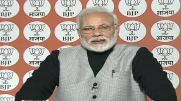 Prime Minister Narendra Modi said democracy runs in BJP's veins while families rule other parties.(ANI/Twitter)