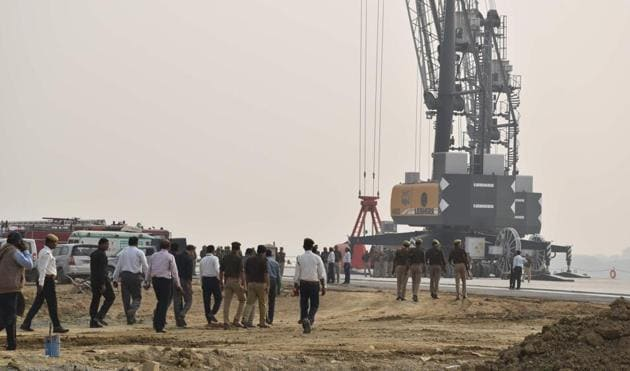 The under-construction inland waterways project, Varanasi, November 11, 2018. According to the project's consultants, its internal rate of return will be 21.40%(Rajesh Kumar / HT File)