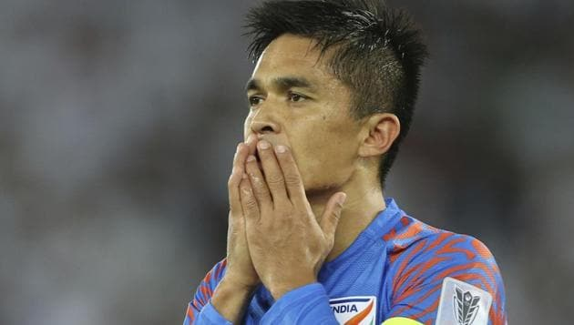 Sunil Chhetri gestures during the AFC Asian Cup group A match between United Arab Emirates and India.(AP)