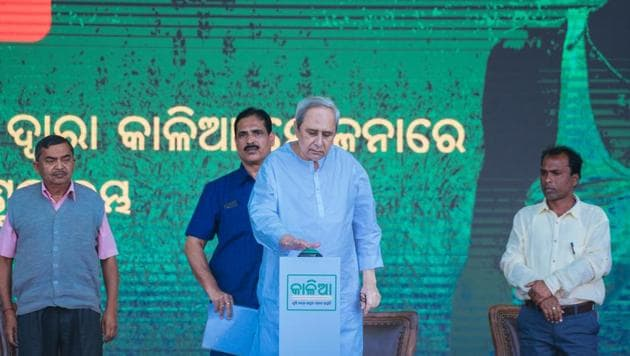 Odisha chief minister Naveen Patnaik at the launch of the Krushak Assistant for Livelihood and Income Augmentation (KALIA) scheme in Puri on Friday.(HT PHOTO)