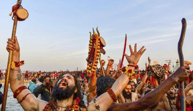 Devotees and visitors, too, try their hand in adding to the musical ambience at the world's largest religious congregation.(PTI)