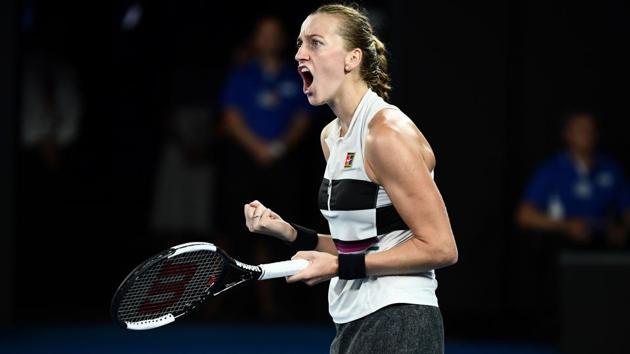 Czech Republic's Petra Kvitova reacts after a point against Japan's Naomi Osaka.(AFP)