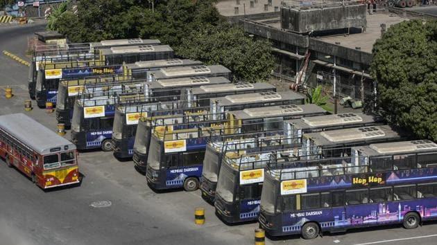 Mumbai, India - January 23, 2019: New Mumbai Darshan buses standing at Santacruz Bus Depot in Mumbai, India, on Wednesday, January 23, 2019. (Photo by Satish Bate/Hindustan Times)(Satish Bate/HT Photo)