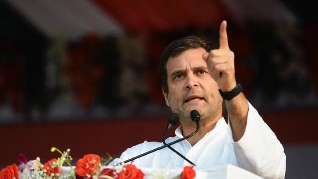 Congress President Rahul Gandhi addressing people at 'Kisan Abhaar Sammelan' and 'Krishi Rin Mukti Karayakram' in Atal Nagar at Chhattisgarh.(ANI Photo)