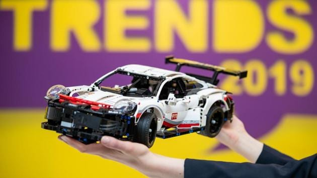 A model of the Porsche 911 RSR from Lego Technic is on display during the Innovation Show of the International Toy Fair in Nuremberg on January 29, 2019.