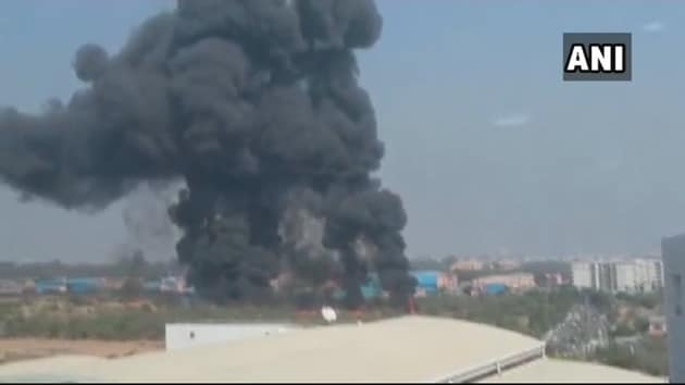 Smoke billows from the wreckage of a Mirage 2000 aircraft which crashed in Bengaluru Friday morning.(ANI)