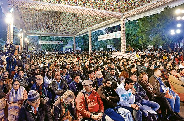 The attentive audience at the final debate at JLF 2019 on whether liberalism stifles debate.(Amal KS/HT PHOTO)