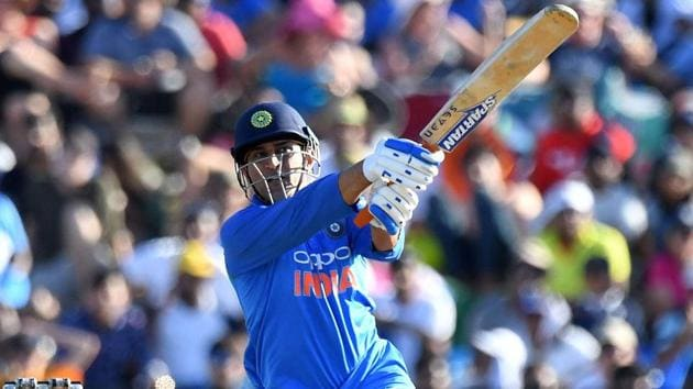 MS Dhoni plays a shot during the second one-day international (ODI) match between New Zealand and India.(AFP)