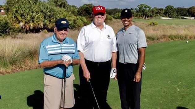 US president Donald Trump played golf Saturday in Florida with two of the game's greatest champions, Jack Nicklaus and Tiger Woods.(Donald Trump/Twitter)