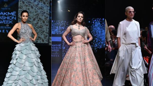Malaika Arora, Kangana Ranaut and Tahira Kashyap walk the ramp at the Lakme Fashion Week.(Varinder Chawla)