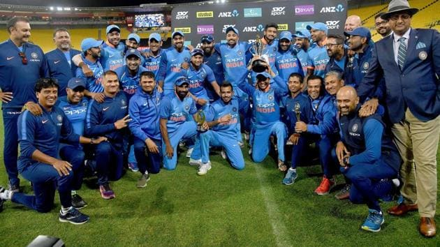 India celebrate winning the ODI series following the fifth one-day international (ODI) match against New Zealand.(AFP)