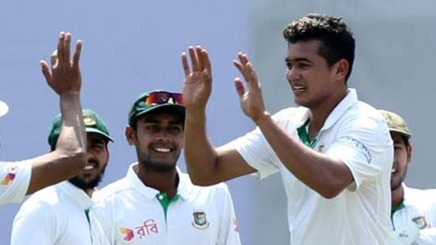 File image of Bangladesh cricketer Taskin Ahmed celebrating the fall of a wicket.(BCCI Image)