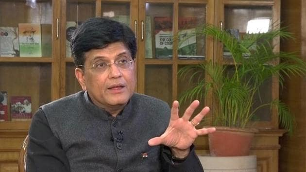 Finance minister Piyush Goyal during an interview in New Delhi.(ANI Photo)