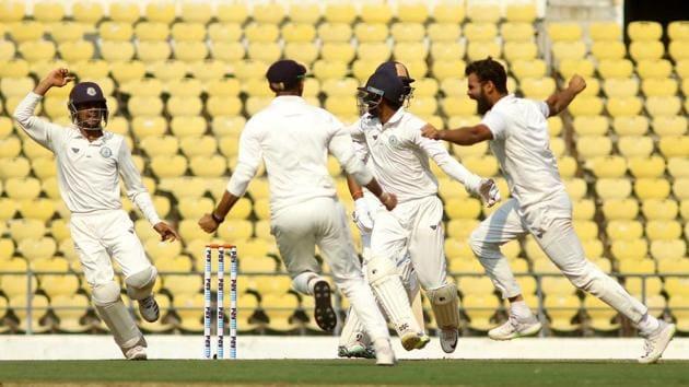 Vidarbha bowler Aditya Sarvate celebrates after taking wicket of Saurashtra batsman Cheteshwar Pujara.(Sunny Shende)