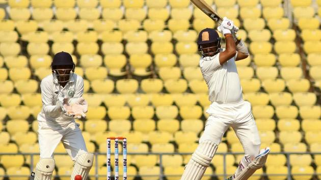 Cheteshwar Pujara in action against Vidarbha.(ANI)
