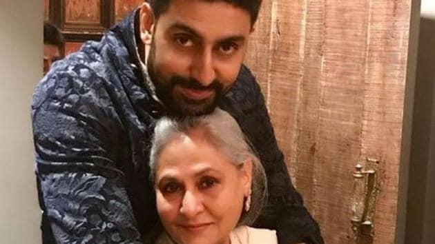 Abhishek Bachchan with his mom Jaya Bachchan on her birthday, last year.