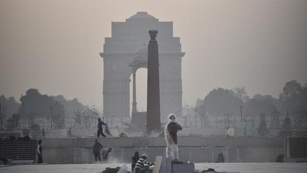 A view of the under-construction National War Memorial, at India Gate Lawns, in New Delhi.(Sanchit Khanna/HT PHOTO)